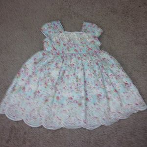 Laura Ashley Dress 18 Mos. Floral Embroidered